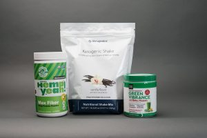 Breakfast Drink Recipe Ingredients, hemp, keto powder, and green vibrance greens powder with probiotics