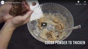 Maca BallsVideo Thumbnail adding cocoa for thickening