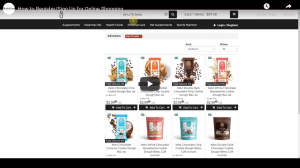 Nutrition World Online Shop Products displayed on website