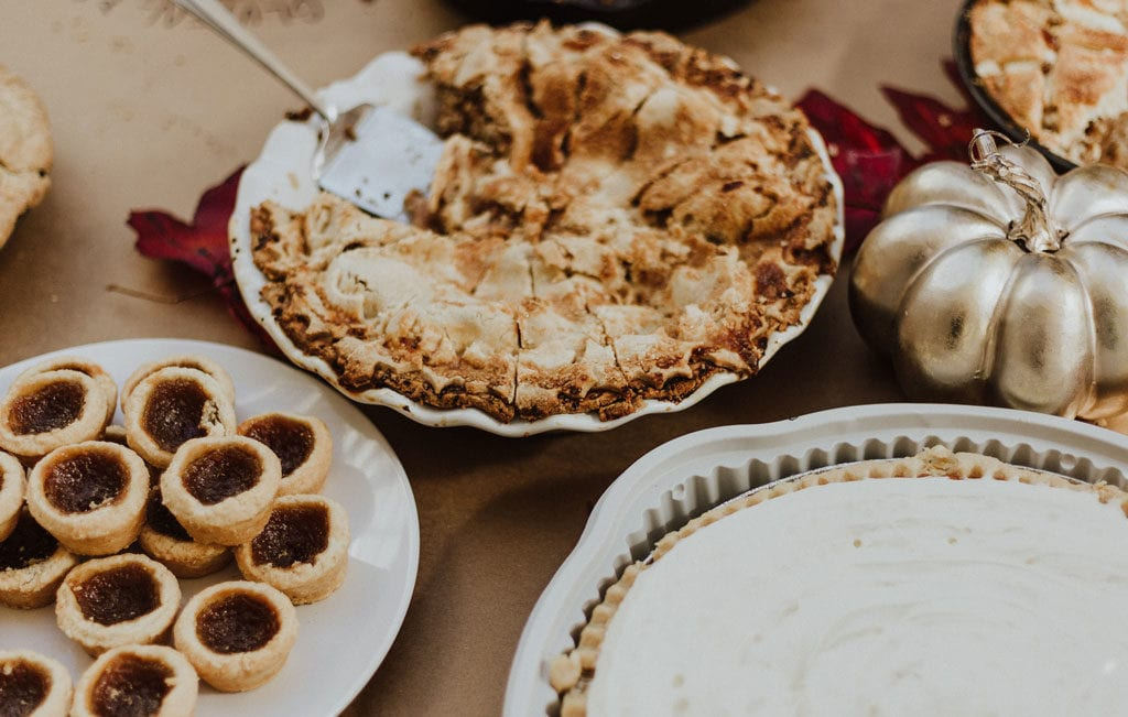 holiday sweets, pies, and goodies on the table