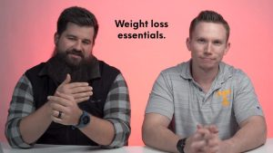 Brian and Adam, our weight loss expert, at table together talking sustainable weight loss