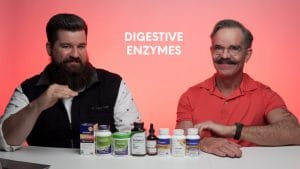 Founder of Nutrition World Ed Jones with digestive enzyme products from the store