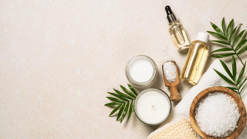 candles, scrubs, oils, and other skincare products